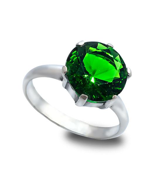 Strieborný prsteň Zafír zelený 19009