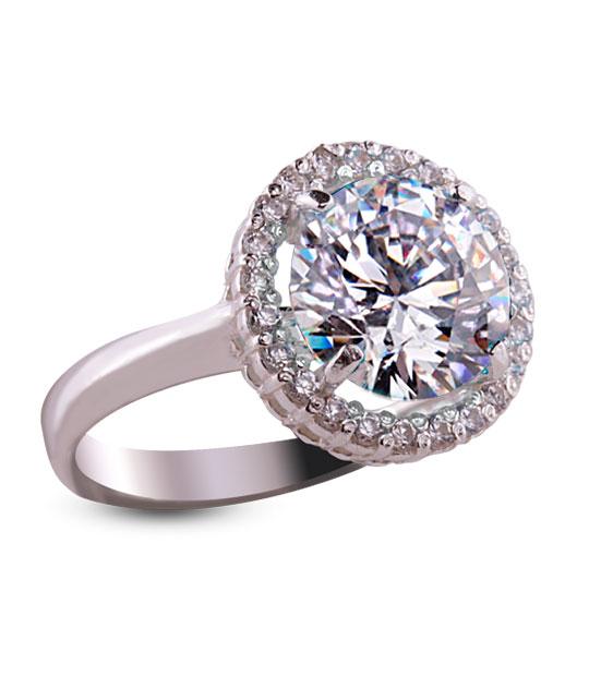 Strieborný prsteň so zirkónom 19018 – Malinka okrúhla číra