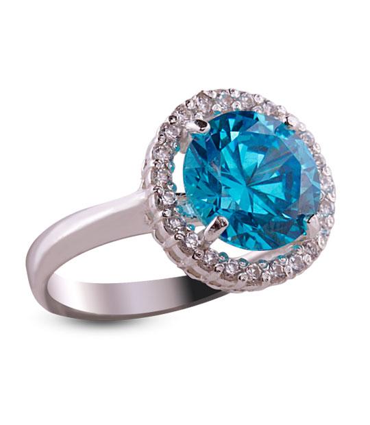Strieborný prsteň so zirkónom 19018 – Malinka okrúhla modrá