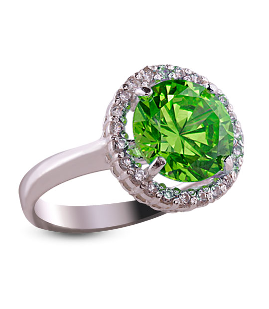Strieborný prsteň so zirkónom 19018 – Malinka okrúhla olivová