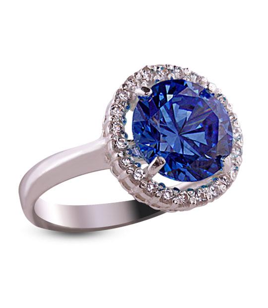 Strieborný prsteň so zirkónom 19018 – Malinka okrúhla tmavo-modrá