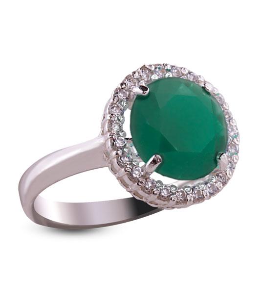 Strieborný prsteň so zirkónom 19018 – Malinka okrúhla smaragdová