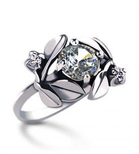 Strieborný prsteň so zirkónom – Jablkový kvet-crystal