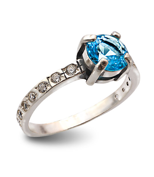 Strieborný prsteň so zirkónmi – Berta 19077 modrá