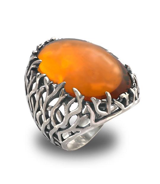 Strieborný prsteň – Forest 19085 jantarový
