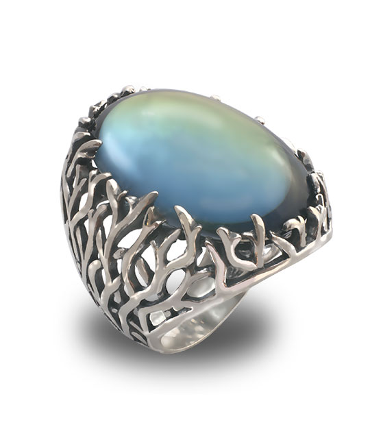 Strieborný prsteň – Forest 19085 olivový