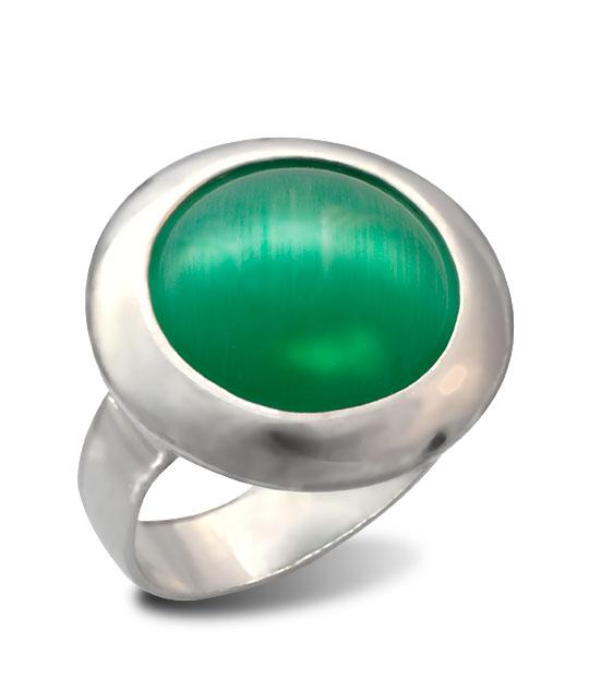 Strieborný prsteň Illa 19086 zelený ulexit