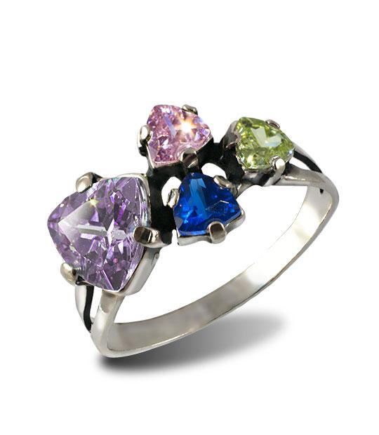 Strieborný prsteň 19091 Trilon Fialový