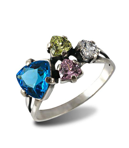 Strieborný prsteň 19091 Trilon Modrý