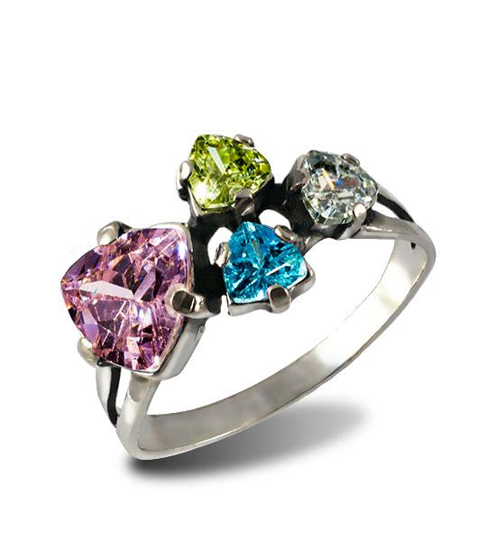 Strieborný prsteň 19091 Trilon Ružový