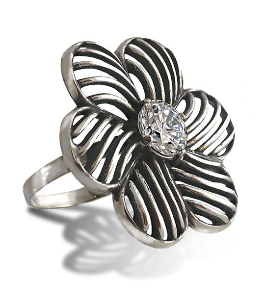 Strieborný prsteň so zirkónmi – Červený Mak 19107 crystal