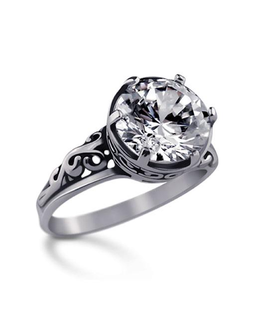 Strieborný prsteň 19057 crystal Ornament