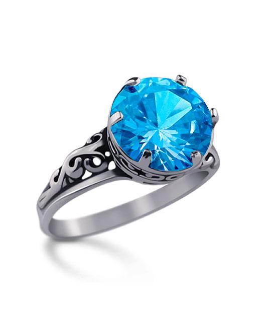 Strieborný prsteň 19057 blue Ornament