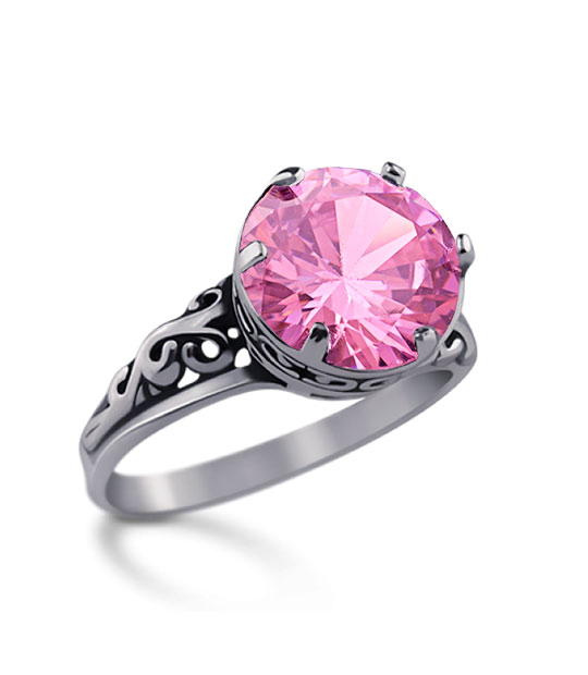Strieborný prsteň 19057 pink Ornament