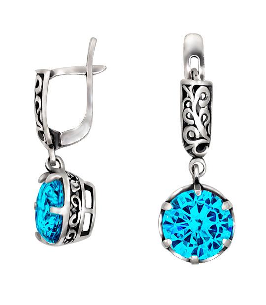 Strieborné náušnice so zirkónmi – Ornament modrý 29038g