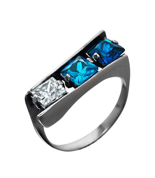 Strieborný prsteň 19105 Kockr modrá
