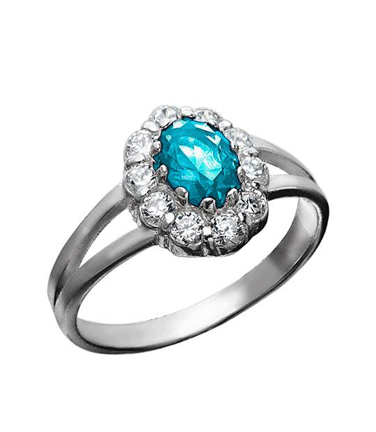 Strieborný prsteň 19108g Jar modrá
