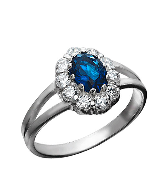 Strieborný prsteň 19108s Jar tmavo-modrá