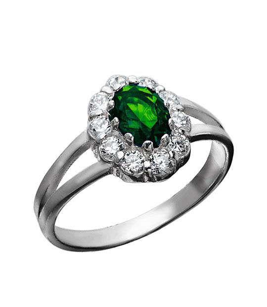 Strieborný prsteň 19108z Jar zelená
