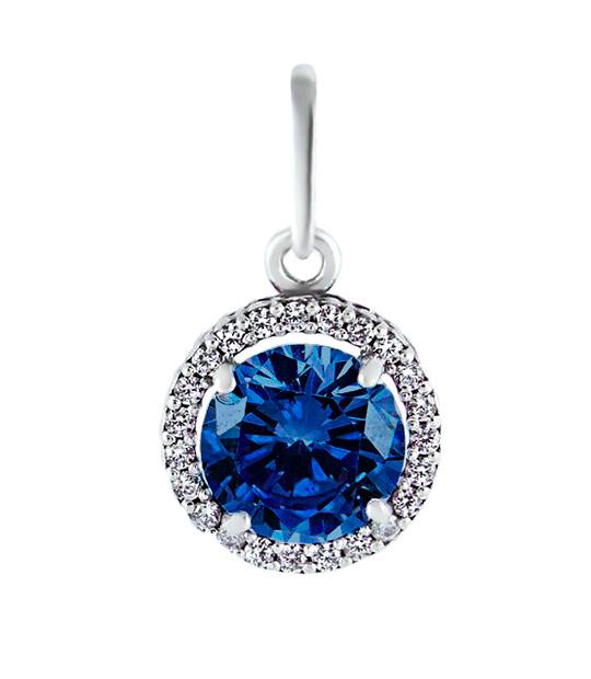 Strieborný prívesok so zirkónmi – Malinka okrúhla 39006 tmavo-modrá