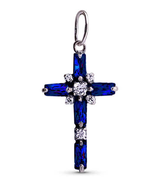 Strieborný prívesok so zirkónmi – Krížik žiara 39052 tmavo-modrý