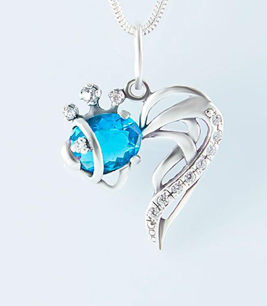 Strieborný prívesok 39113g Kráľovská rybka modrá